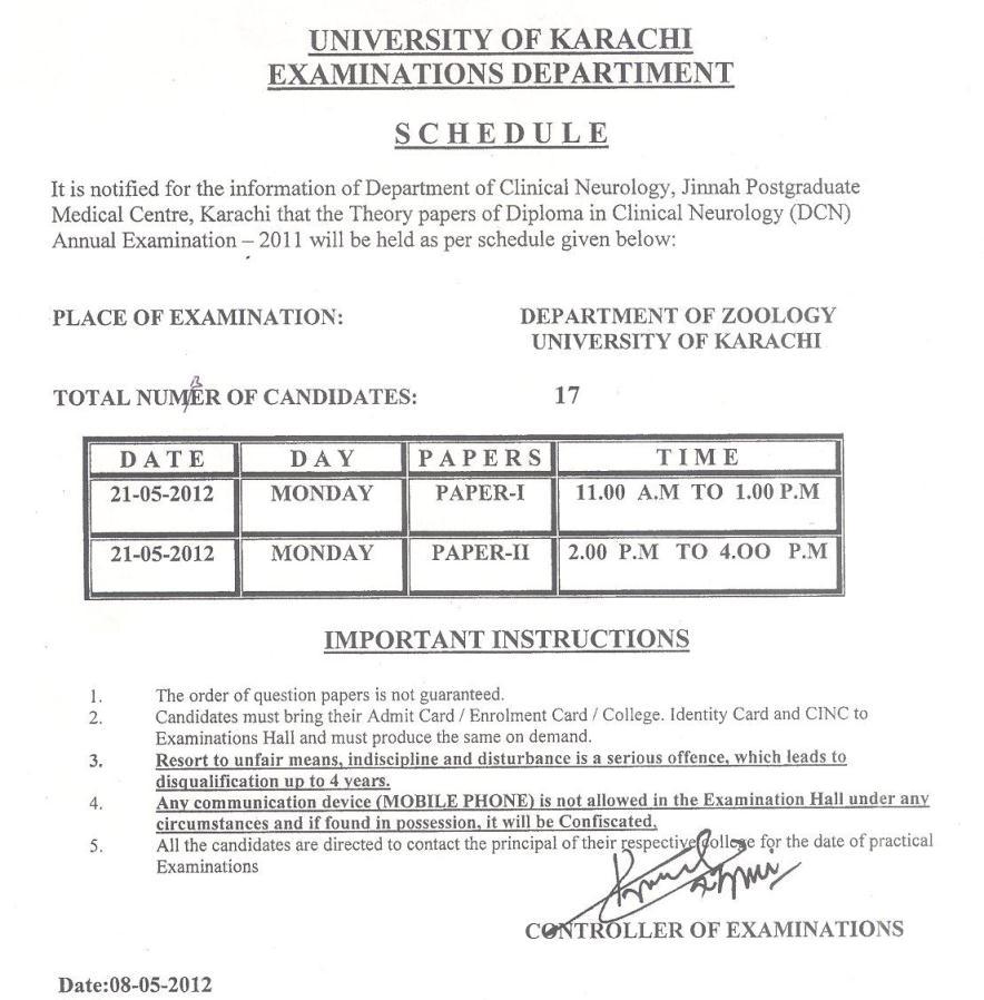 UoK D.C.N Annual Examination 2011