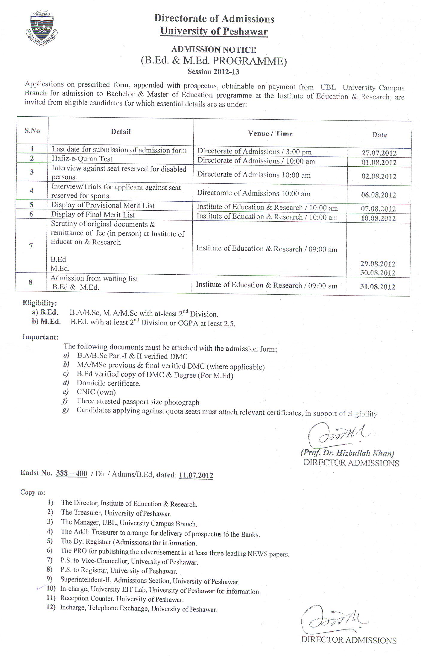 Peshawar University Admission B.Ed & M.Ed 2012