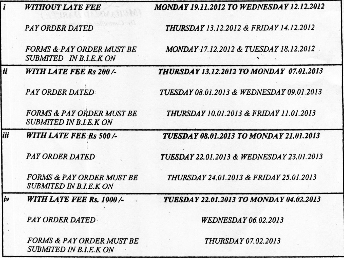 Karachi Board HSC Part-I Schedule 2013